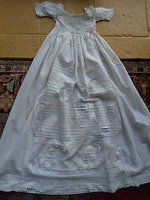 Antique Embroidered White Cotton And Lace   Christening Gown
