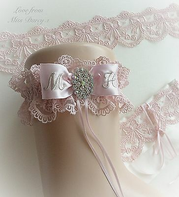 Bridal Garter Dusky Baby Pink Personalised Wedding Brides Hen Miss Darcy Gift