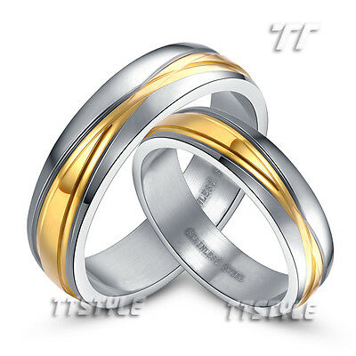 TTstyle Two-Tone Gold Stainless Steel Engagement Wedding Band Ring For Couple