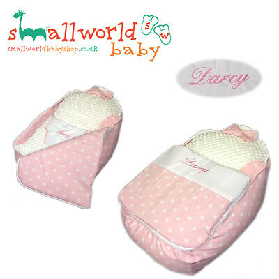 Personalised Pink Star Baby Bean Bag Sleep Pod (NEXT DAY DISPATCH)