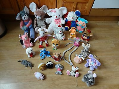 Bundle Of 25 Large & Small Plush Soft MICE 12 inches High max