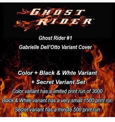 Ghost Rider 1 Dell Otto Set OF 3 W/ COLOR+B&W+SECRET VARIANT COVER LIMITED 500