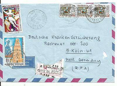 Tunisie -  Postally Used Cover To Germany -Official Registered  Lot ( Tun 06)