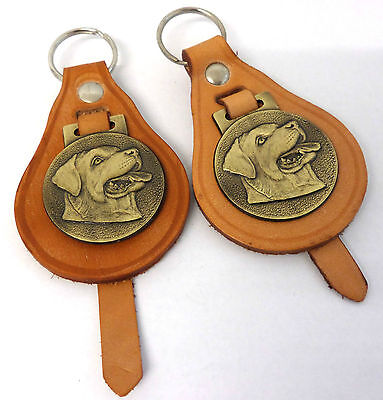 Rottweiler,Dog,Key Rings,X 2 Vintage 1960s, Tan Leather & Brass