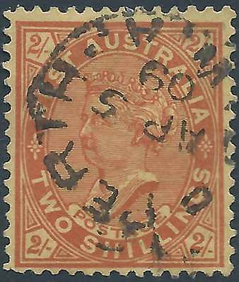 WESTERN AUSTRALIA 1902-12 Q Vic 2/- Red on Yellow paper ACSC 35 lovely fine used