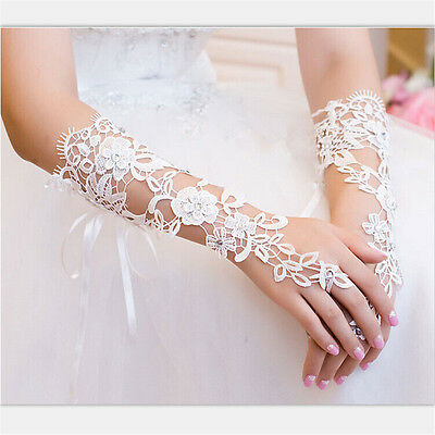 White Lace Floral Bride Fingerless Gloves For Wedding Party White NG