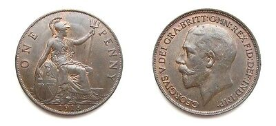 George V 1918 Bronze Penny - High Grade