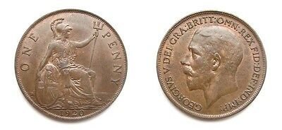 George V 1920 Bronze Penny - High Grade