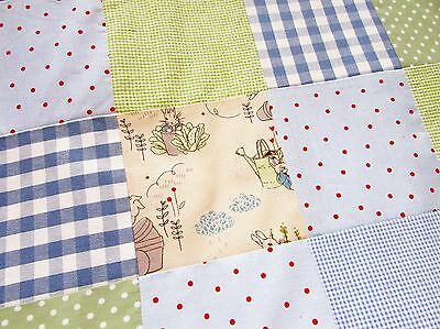 Patchwork baby Boy pram cot bed quilt blanket / play mat- L Ashley Peter Rabbit