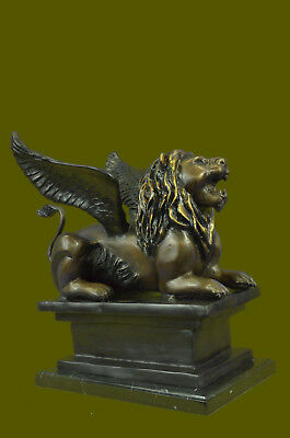 Hot Cast Handmade Winged Lion LTD Edition Bronze Masterpiece Sculpture UG
