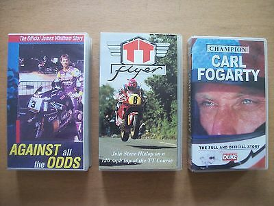 3 Motorcycling Vhs Videos - James Whitham, Steve Hislop, Carl Fogarty