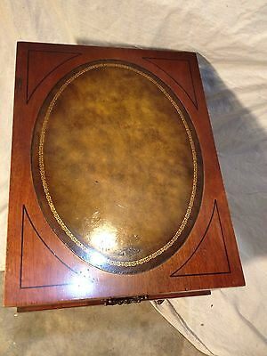 Antique Night Stand Tooled Leather,Solid Mahogany ships $59 Greyhound.MAKE OFFER