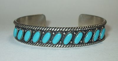 Navajo 925 Turquoise Sterling Silver Bell Trading Native Cuff Bangle Bracelet