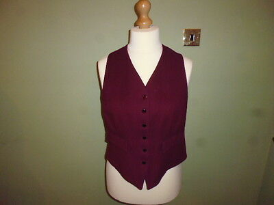 """Foxley ladies burgundy red wool hunt show showing waistcoat size 38"""" UK 14"""