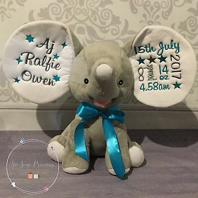 Personalised Cubbie Dumble Elephant, New Baby, Teddy Bear Gift, Grey Silver