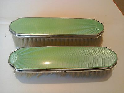 Pair Of Deco Silver and Green Enamel Clothes Brushes
