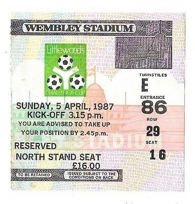 1987 - Arsenal v Liverpool, League Cup Final Match Ticket.