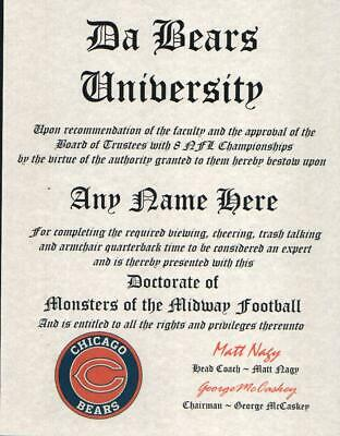 BEARS~DA BEARS~CHICAGO BEARS  MAN CAVE ~ CERTIFICATE ~ DIPLOMA GREAT  FUN   GIFT