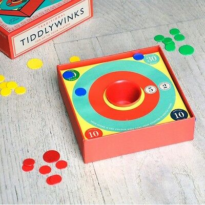 Traditional Vintage Tiddly Winks Game In A Gift Box With Instructions Brand New