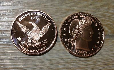 1oz Ounce Unze Kupfer Copper 999 Liberty USA Barbara Half $ Design 28,4 gramm