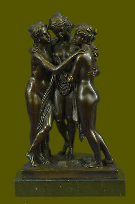 Large three Graces Bronze Sculpture Statue Canova 13Lbs Figurine Decor Gift UG