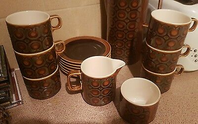 Vintage hornsea bronte green and brown retro  coffee set