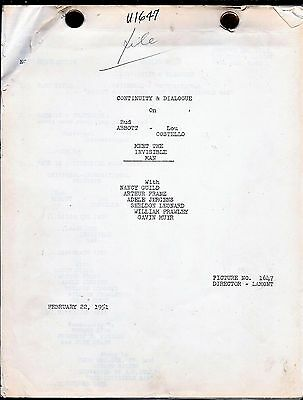 Abbott & Costello Meet the Invisible Man screenplay continuity and Dialogue 1951