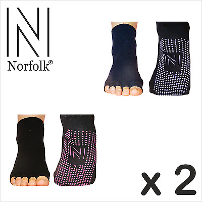2 x Norfolk Womens Yoga and Pilates Toeless Socks with Grips (Non Slip) - Rosita