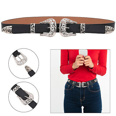 Ladies Vintage Style Women's Double Silver Buckle Belt PU Leather Waist Boho