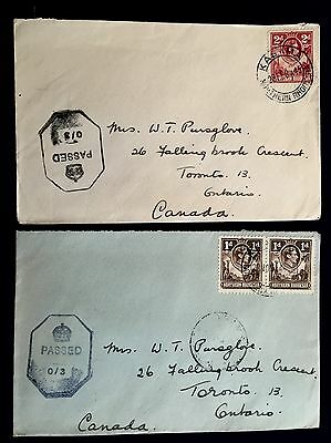 2, Northern Rhodesia , 1944 & 1945 Censored covers to Canada .