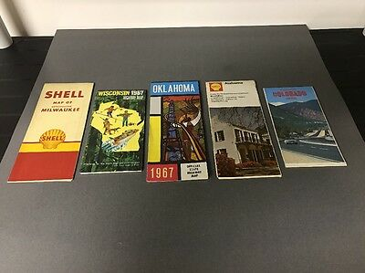 Lot of (5) Vintage Gas Station Road Maps Advertising Car Stuff Lot #1