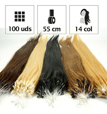 100 Extensiones De Micro Ring De Pelo Natural 90Gr. 55Cm. Extensiones De Grapa