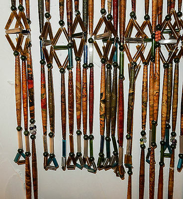Antique Victorian Vintage Wood Glass Paper Beads Curtain Bugle Wallpaper