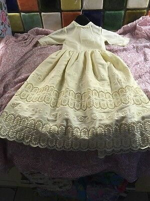 Vintage Style Handmade French Christening/Doll Gown Cream Cotton Embroidery