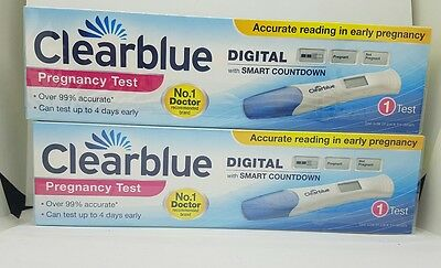 2x Clearblue Digital Smart Timer Countdown Pregnancy Tests