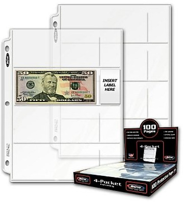20 Twenty - BCW Pro 4-Pocket MODERN Currency Storage Page - Coin & Currency