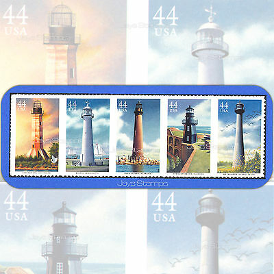 2009  GULF COAST LIGHTHOUSES  Attached Strip of 5  MINT 44¢   # 4409-13  4413a