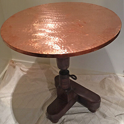 English Antique Pottery Wheel Topped with Hammered Copper as Side or Patio Table
