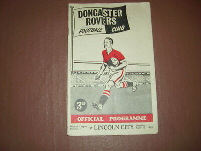 Doncaster Rovers V Lincoln City 1957/58 Programme