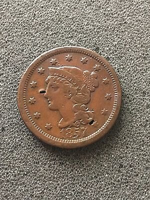 1857 1C Large Date BN Braided Hair Cent