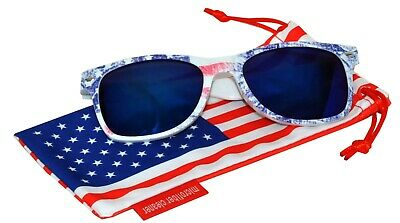 1d894ce17c71 US American Flag Print Frame Blue Mirror Retro Sunglasses patriotic 4th of  July