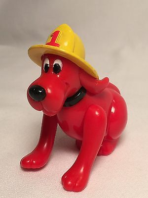 Clifford Big Red Dog wearing Fireman Hat, plastic figurine action figure