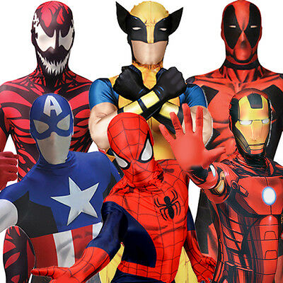 Morphsuit Marvel Superhero Costumes Spiderman Captain America Iron Man Wolverine
