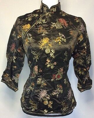 Vintage Peony Oriental Asian Thin Jacket/Coat Size 38