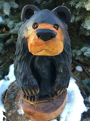 Chainsaw Carved Black Bear  White Pine Wood Carving Log Rustic Home Garden Decor