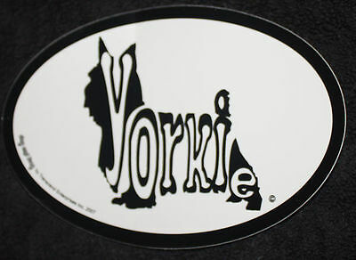 Yorkshire Terrier Yorkie Oval Euro Style Car Dog Decal Sticker