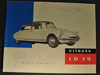 1959 Citroen ID-19 Sales Brochure Folder English Text Excellent Original 59
