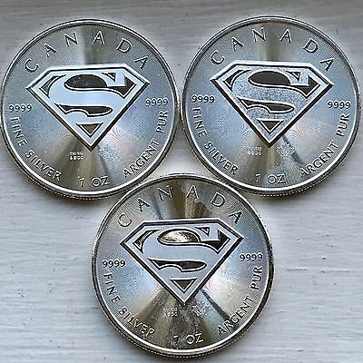2016 Canada $5 1 oz. Silver Superman - Lot of 3 Coins BU Maple