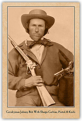 CIVIL WAR VINTAGE PHOTOGRAPH CARD Johnny Reb Sharps Carbine A++ Reprint