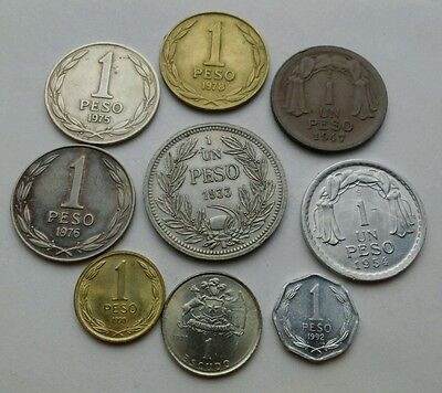 Chile 1 Peso 1933,1947,1954,1975,1976,1978,1990,1992. One Escudo 1971. Set 9 cns
